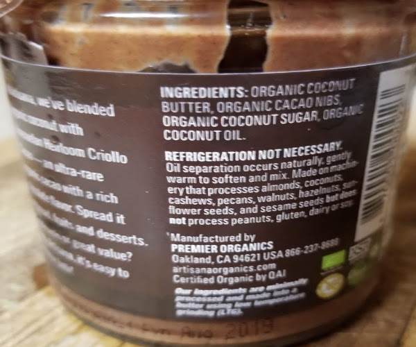 The back of the jar and the ingredients