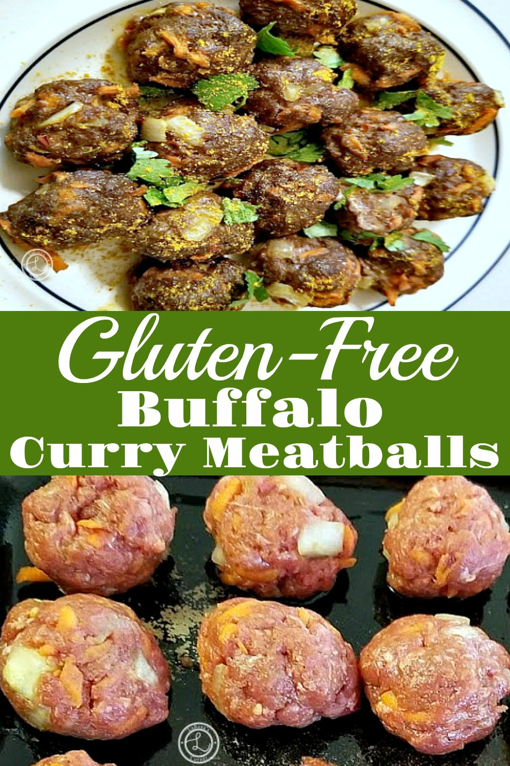 2 pictures. One of Gluten-free Buffalo Curry Meatballs on a plate. Second picture is of meatballs before being cooked.