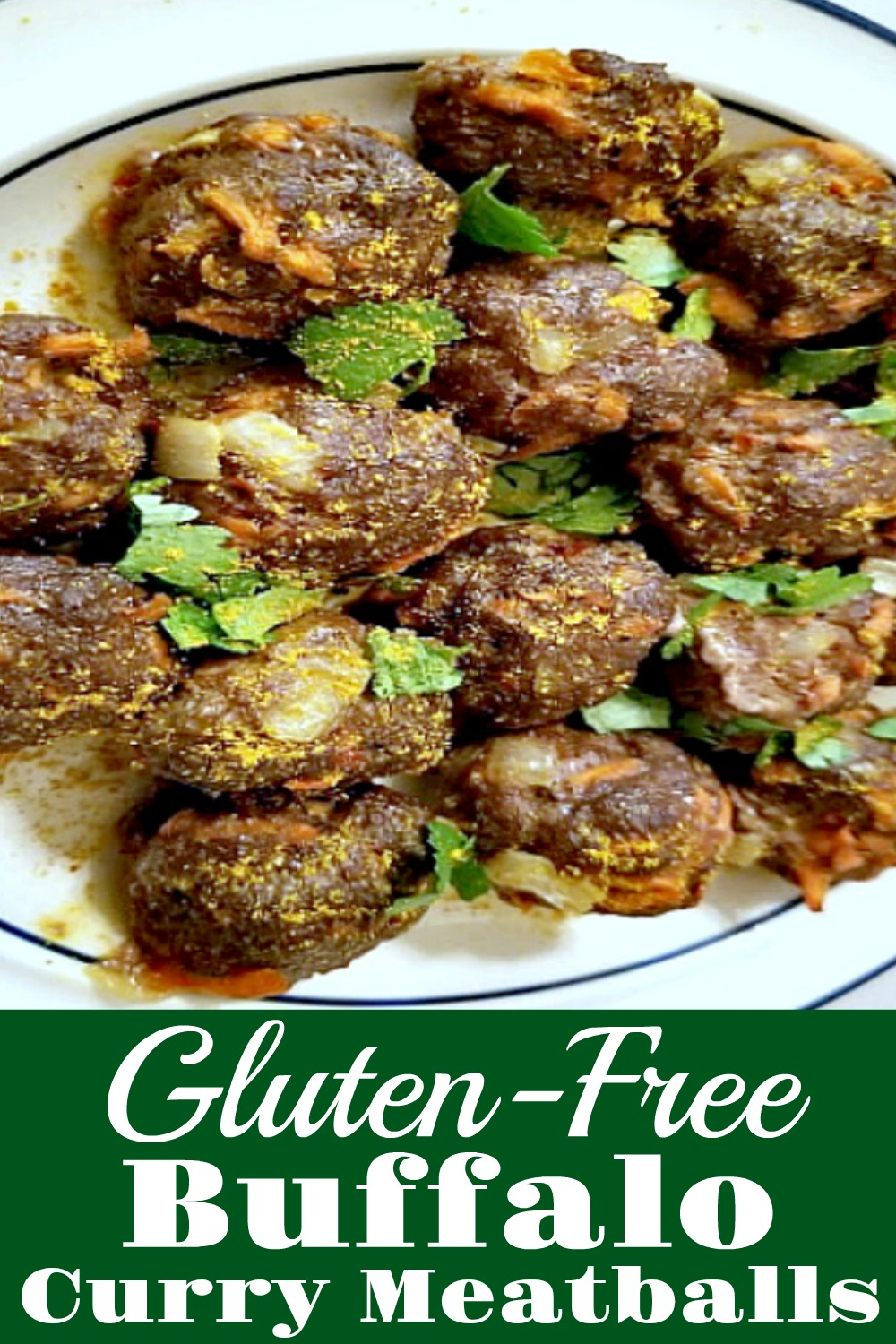 Gluten-Free Buffalo Curry Meatballs on a plate