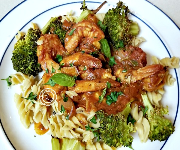 Cooked Shrimp over gluten-free pasta