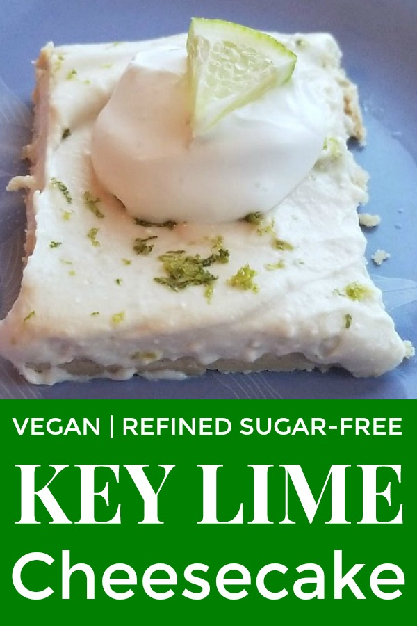 Vegan Key Lime Cheesecake with lime topping, lime zest and lime slice.