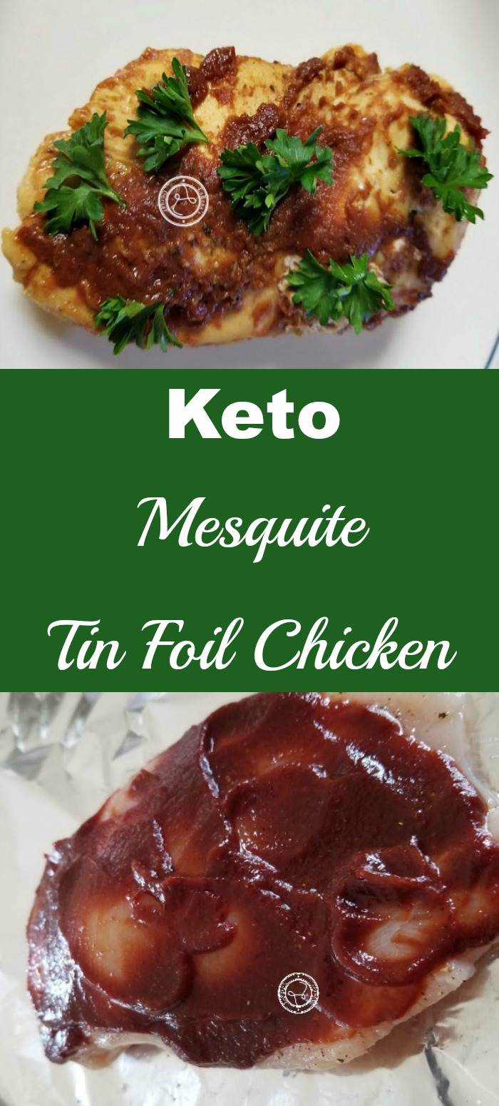 Collage: Top: Cooked Mesquite chicken. Bottom: Raw chicken with mesquite sauce