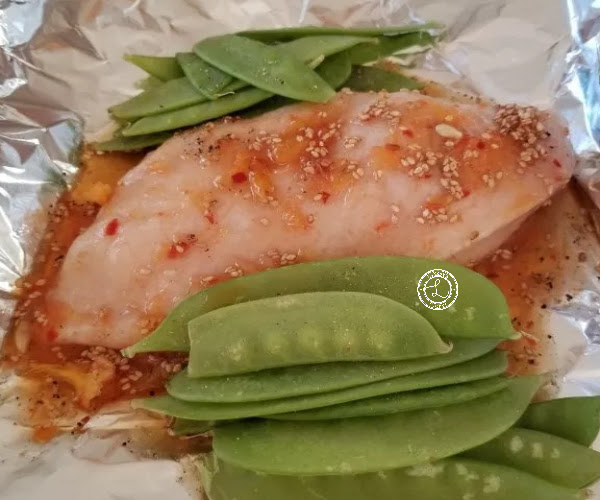 Chicken with Orange Sesame Sauce and snow peas