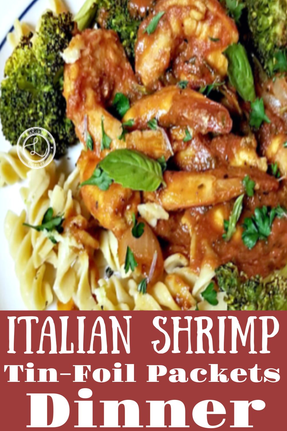 A plate of Italian Shrimp on top of pasta and broccoli