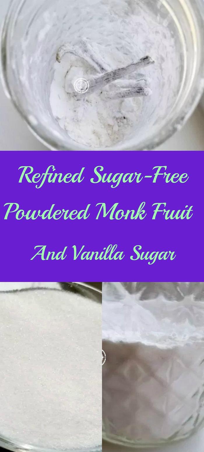 Collage: Top: Powdered Vanilla Monk Fruit. Bottom: Monk Fruit Sweetener and Powdered Monk Fruit Sugar