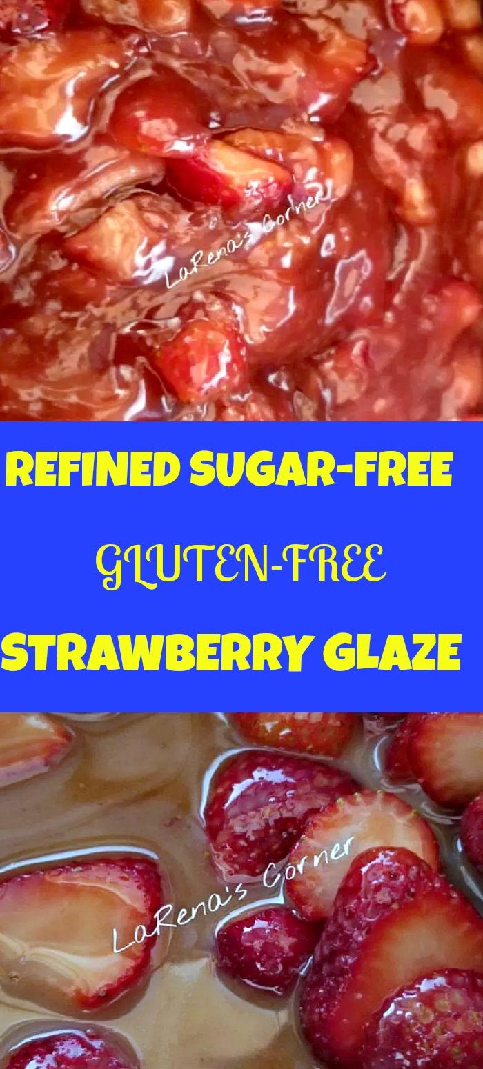 Collage: Top: Strawberry Glaze. Bottom: Making Strawberry glaze with whole strawberries