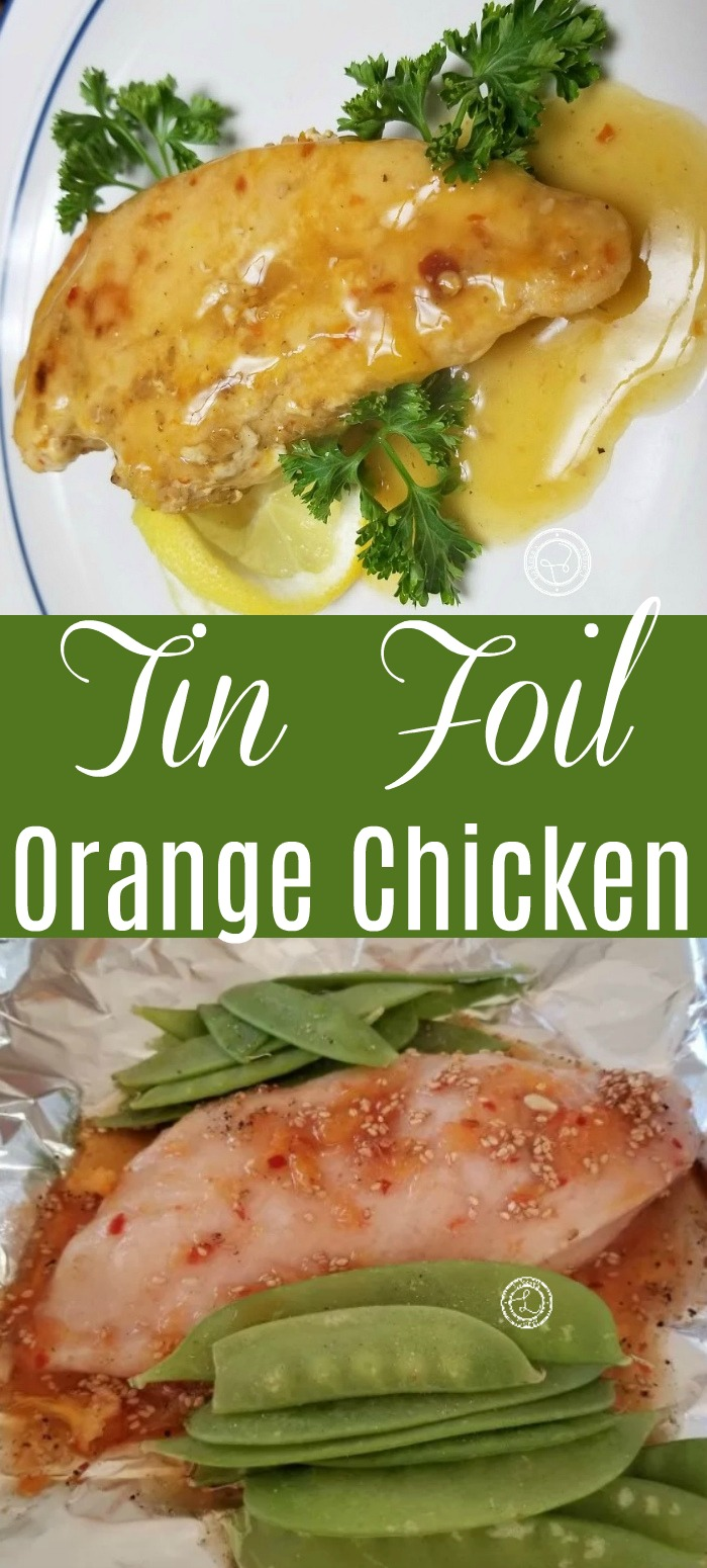 Tin Foil Orange Chicken all ingredients going in tin foil and cooked chicken with orange sauce