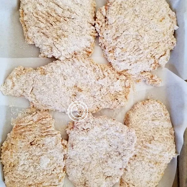 Gluten-Free Chicken Fried Steak that have been dipped in egg and cassava flour