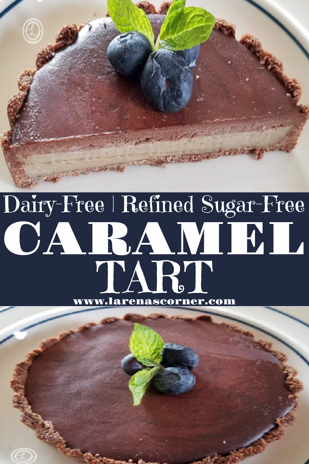 2 pictures of a tart. One of a tart cut in half. One of the whole chocolate ganache topped tart