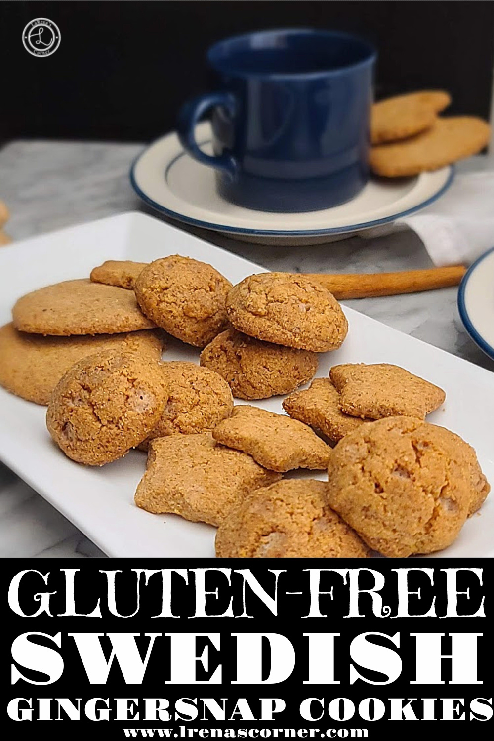 Gluten-Free Swedish Gingersnap Cookies on a plater.