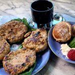A picture of breakfast. Sausage, Danish pancakes, and espresso. A Christmas Breakfast idea