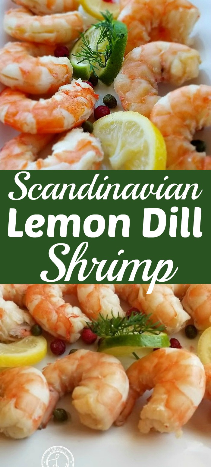 Scandinavian Lemon Dill Shrimp on a platter with close-up pictures