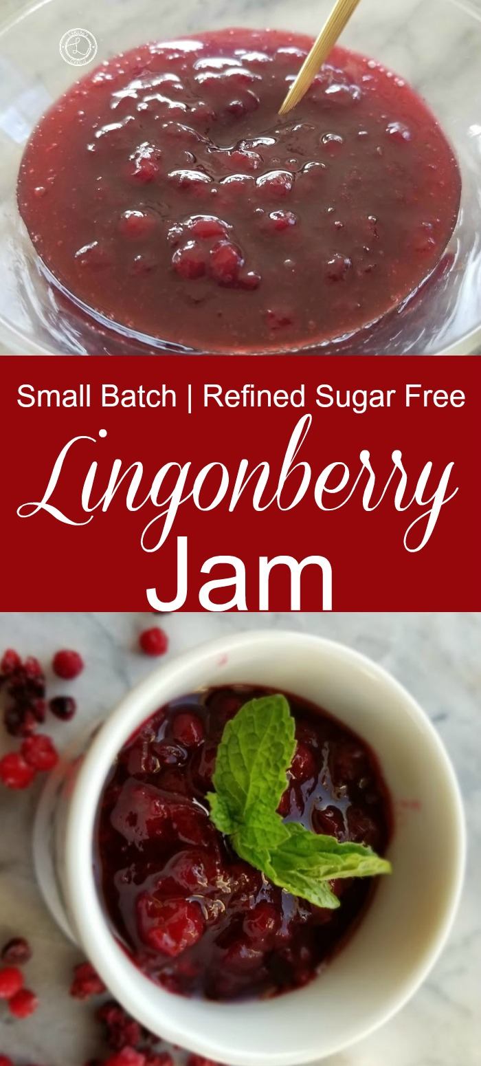 Small Batch Lingonberry Jam in my Lingonberry Jar and in a glass bowl.