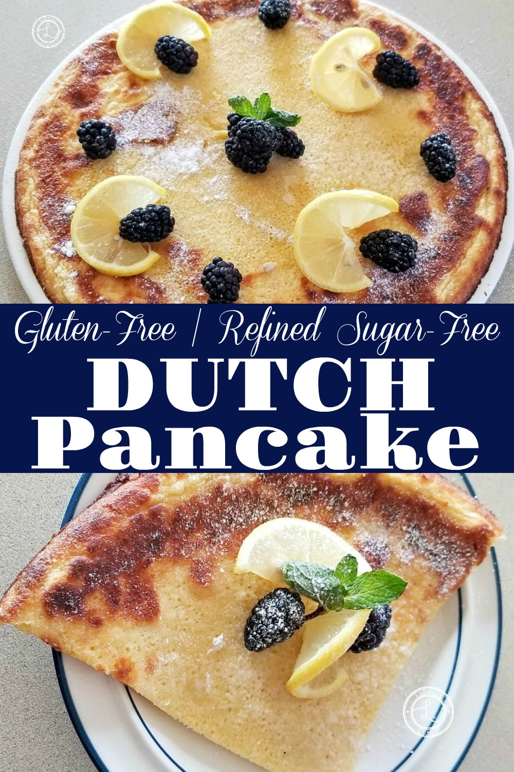 Gluten-Free Dutch Pancake on a plate and a slice on a plate