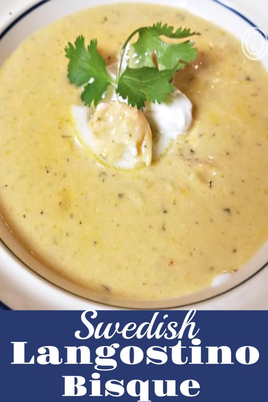 A bowl of Swedish Langostino Bisque