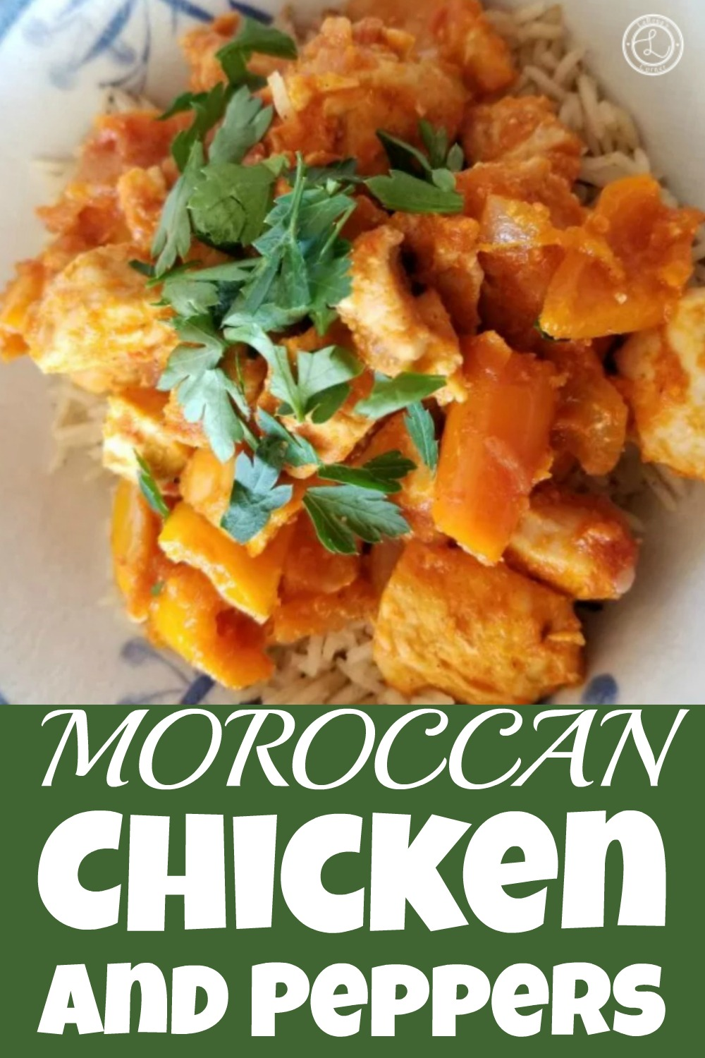A bowl of Moroccan chicken with cauliflower rice and parsley to decorate