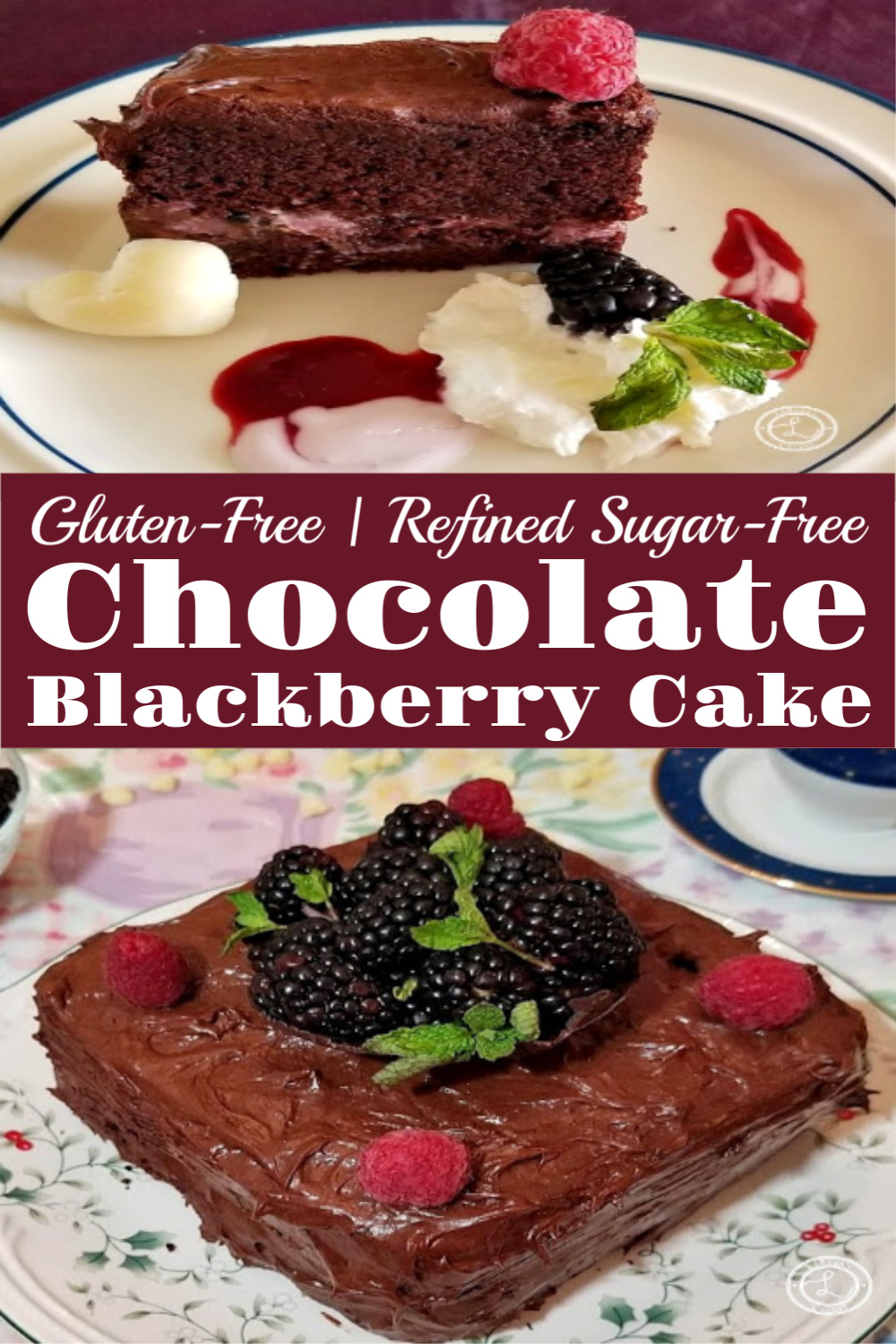 Gluten-Free Chocolate Blackberry Cake. One picture of the whole cake. One of a slice of cake.