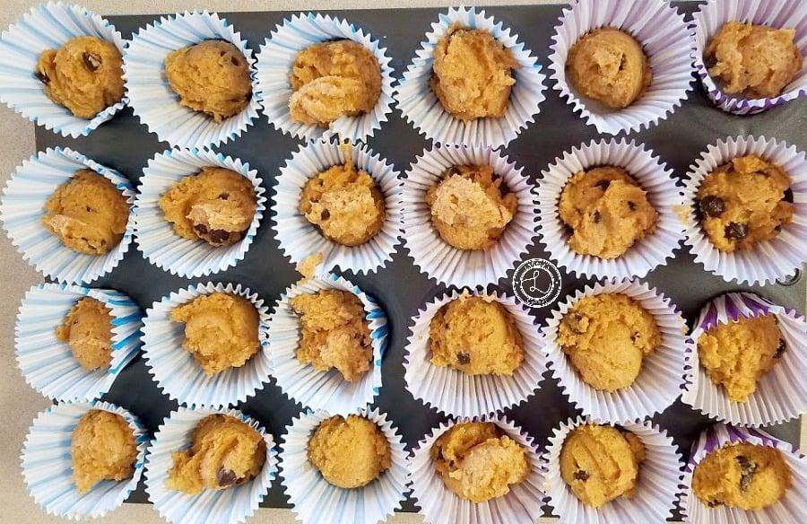 Muffin Batter in mini muffin papers