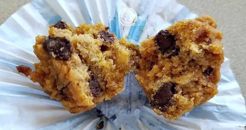 A mini muffin pulled in half