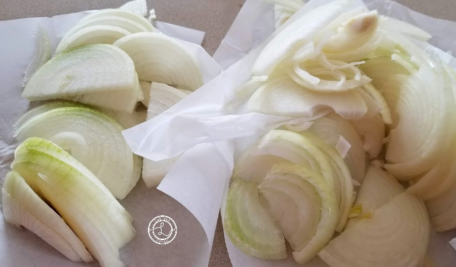 Sliced onions to go in French Onion Mushroom Soup