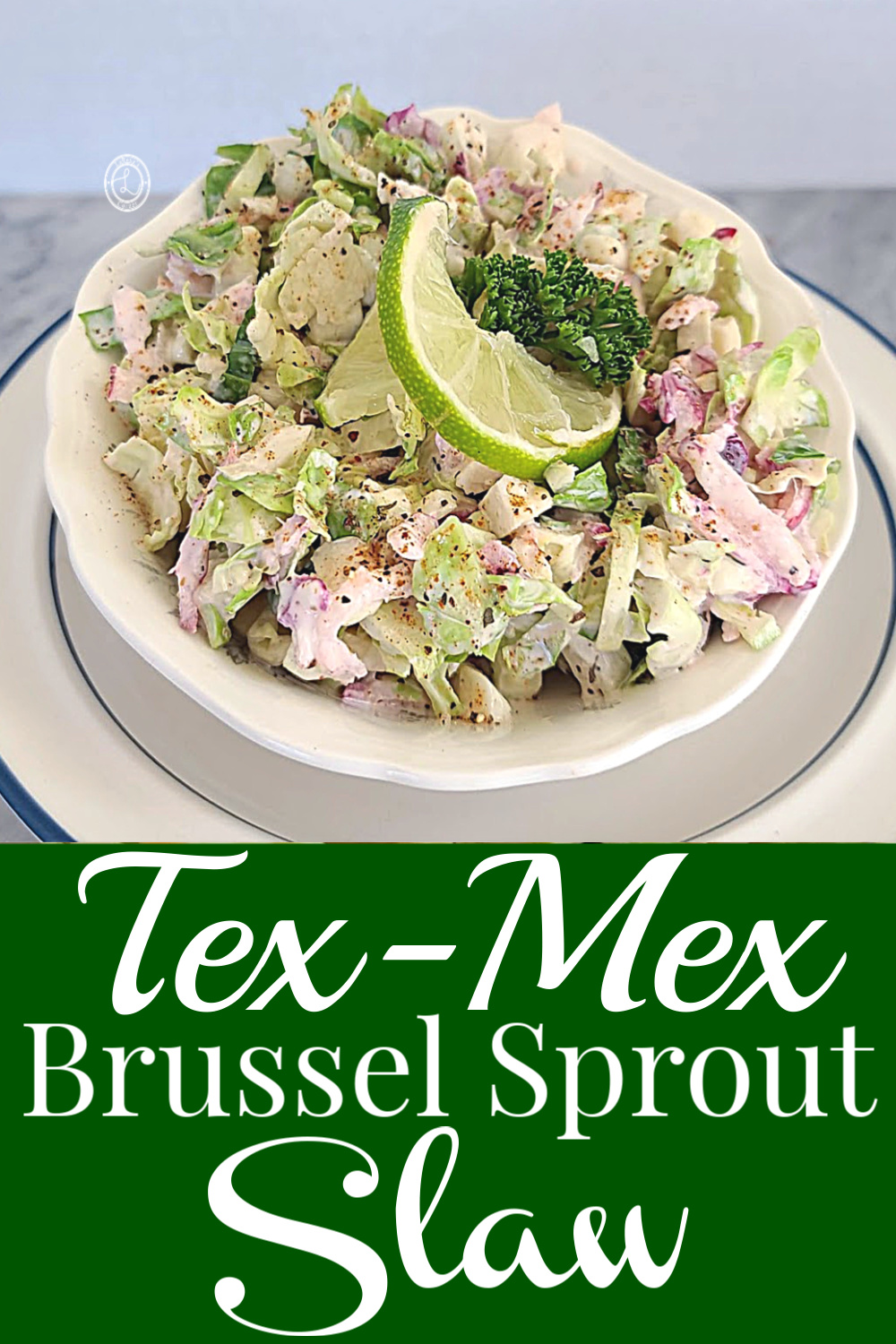 A closeup of Tex-Mex Brussel Sprout Slaw