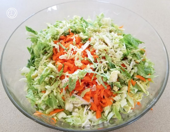 Tex-Mex Brussel Sprout Slaw vegetables in a bowl.