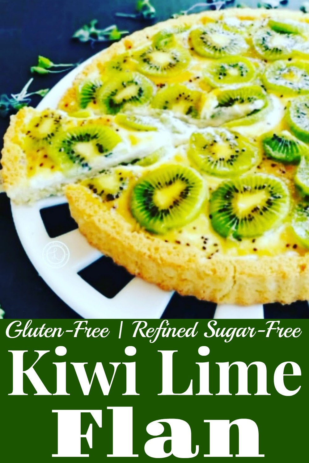 Finished Gluten-Free Kiwi Lime Flan removing a piece of flan.