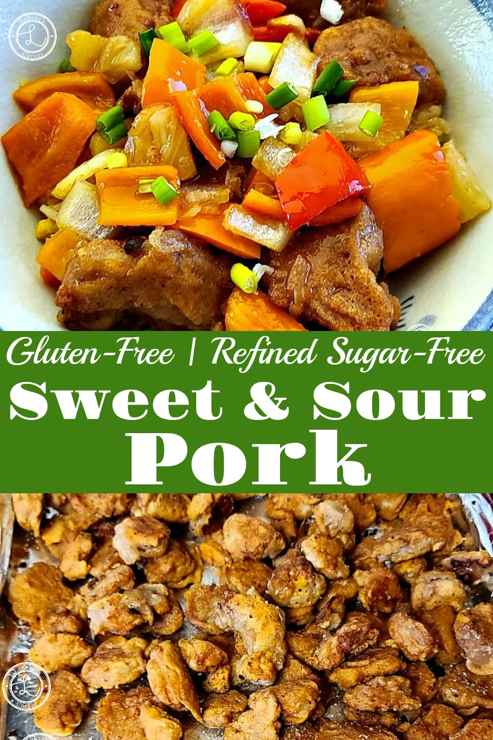 Two Pictures. One of Gluten-Free Fried Pork. Second photo of a bowl of Gluten-Free Sweet & Sour Pork