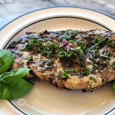 Grilled Chicken with more chimichurri sauce