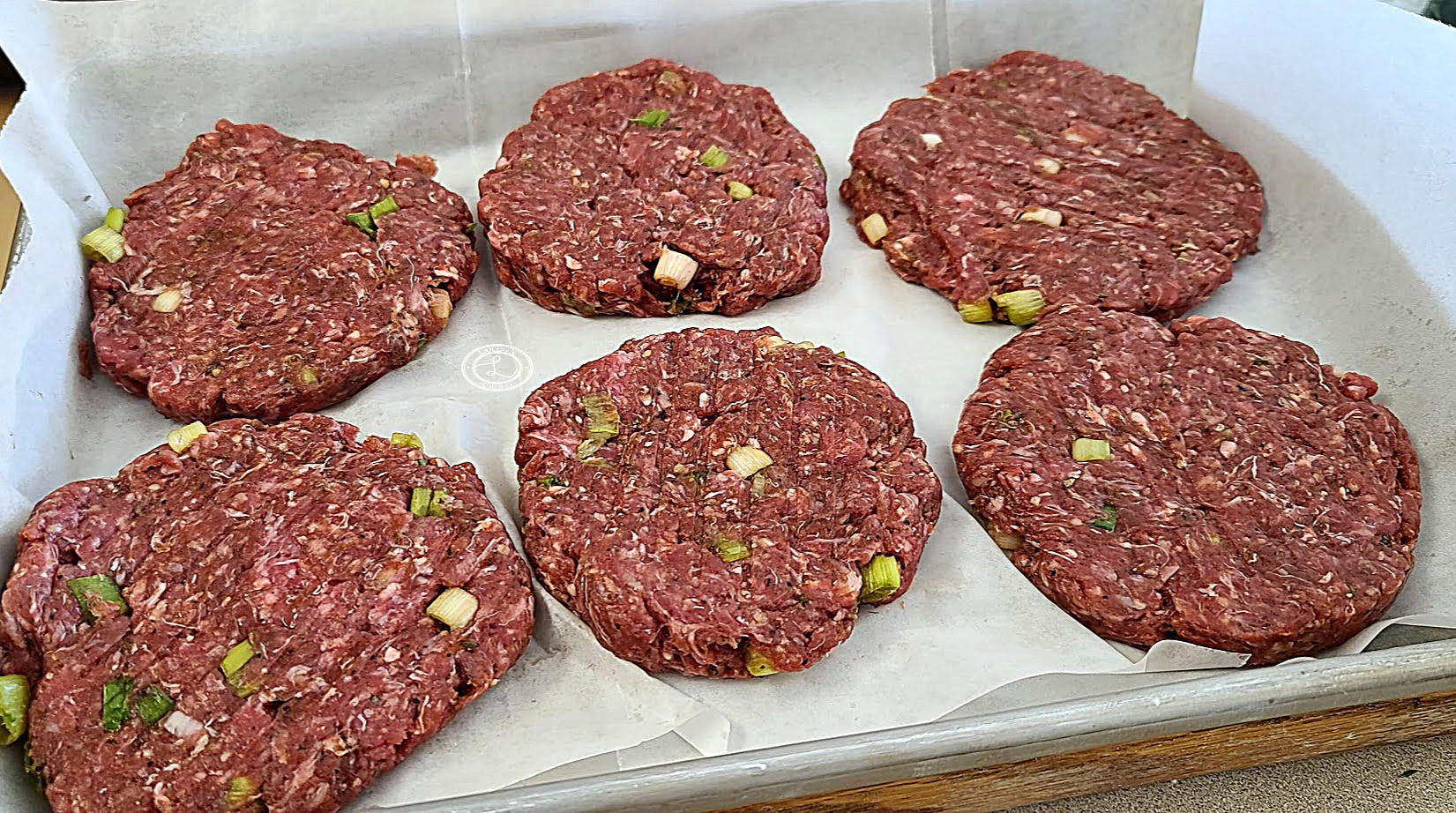 Meat made into burgers