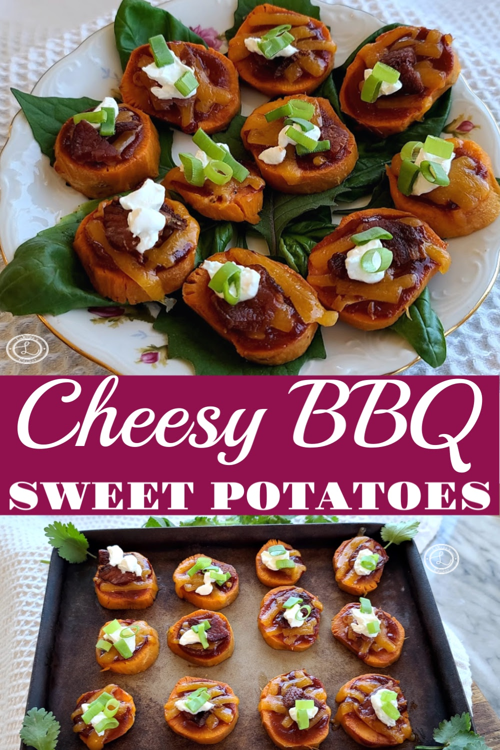Cheesy BBQ Sweet Potato on a plate and on a baking stone