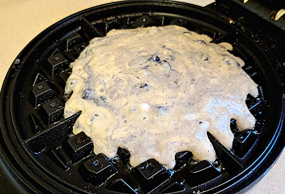 Batter in waffle iron