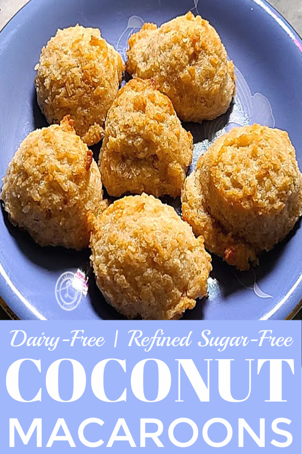 A closeup picture of a plate of Coconut Macaroons