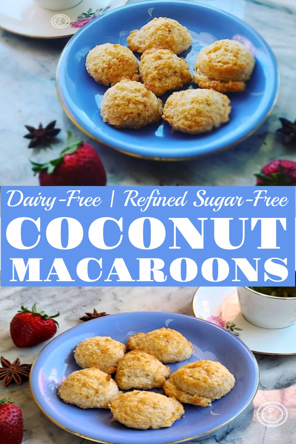 Dairy-Free Coconut Macaroons. 2 pictures of macaroons on plates.