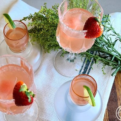 Rhubarb Strawberry Lime Infused Water in 4 glasses.