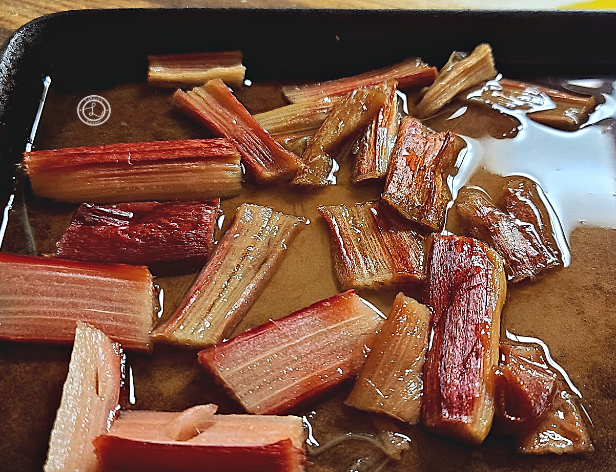 Roasted Rhubarb with water and monkfruit