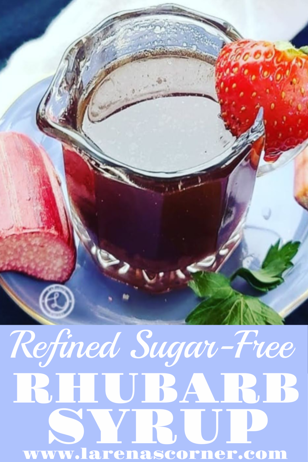 Refined Sugar-Free Rhubarb Pancake Syrup in a small serving creamer
