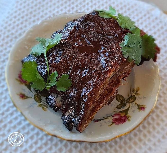 BBQ Ribs on a plate with parsley