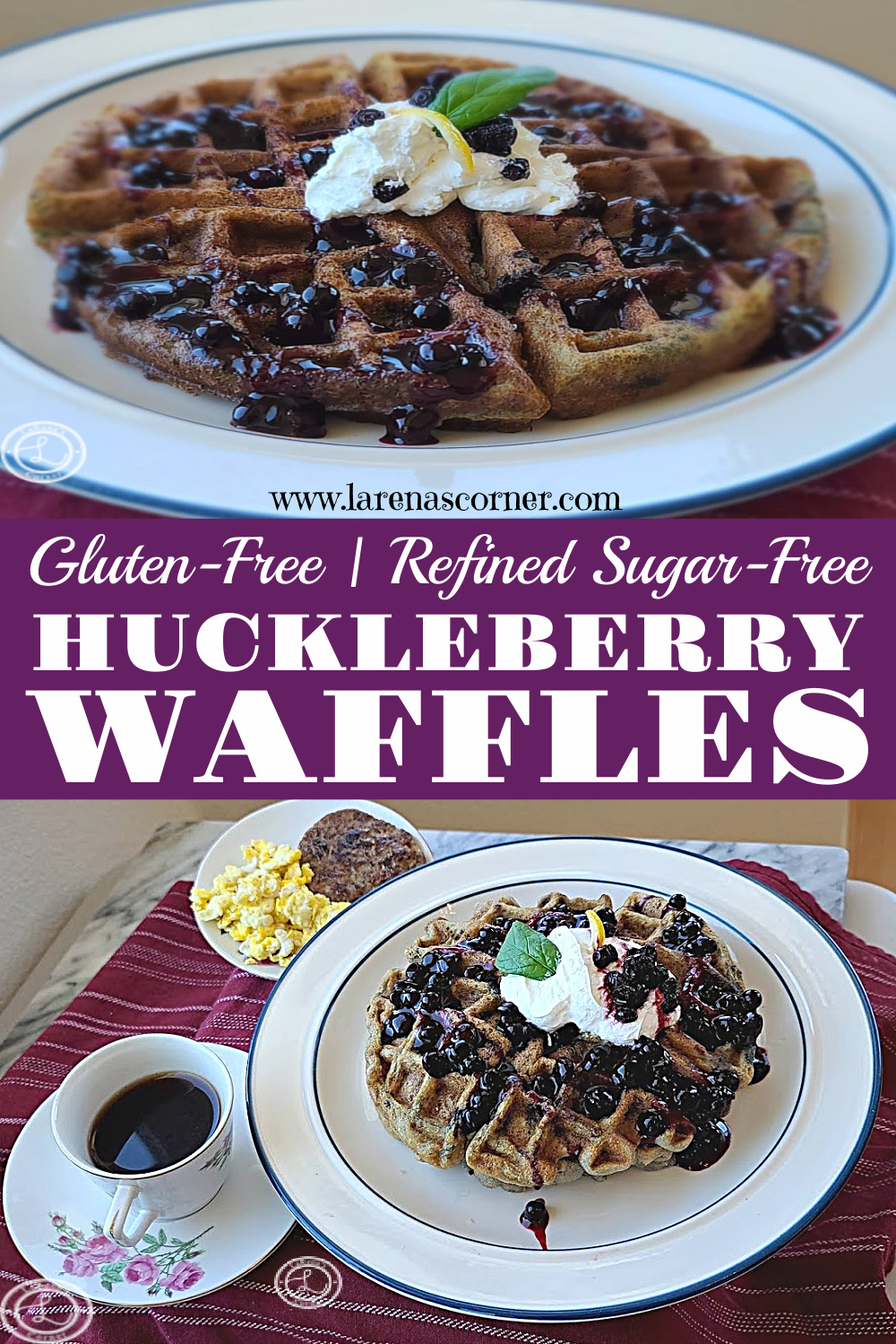 Two pictures of gluten-free huckleberry waffles. One closeup of a waffle with huckleberry sauce, whipped cream, sliver of lemon, and mint. Second picture of a whole complete breakfast, one waffle with toppings, cup of espresso, scrambled egg, and one sausage.