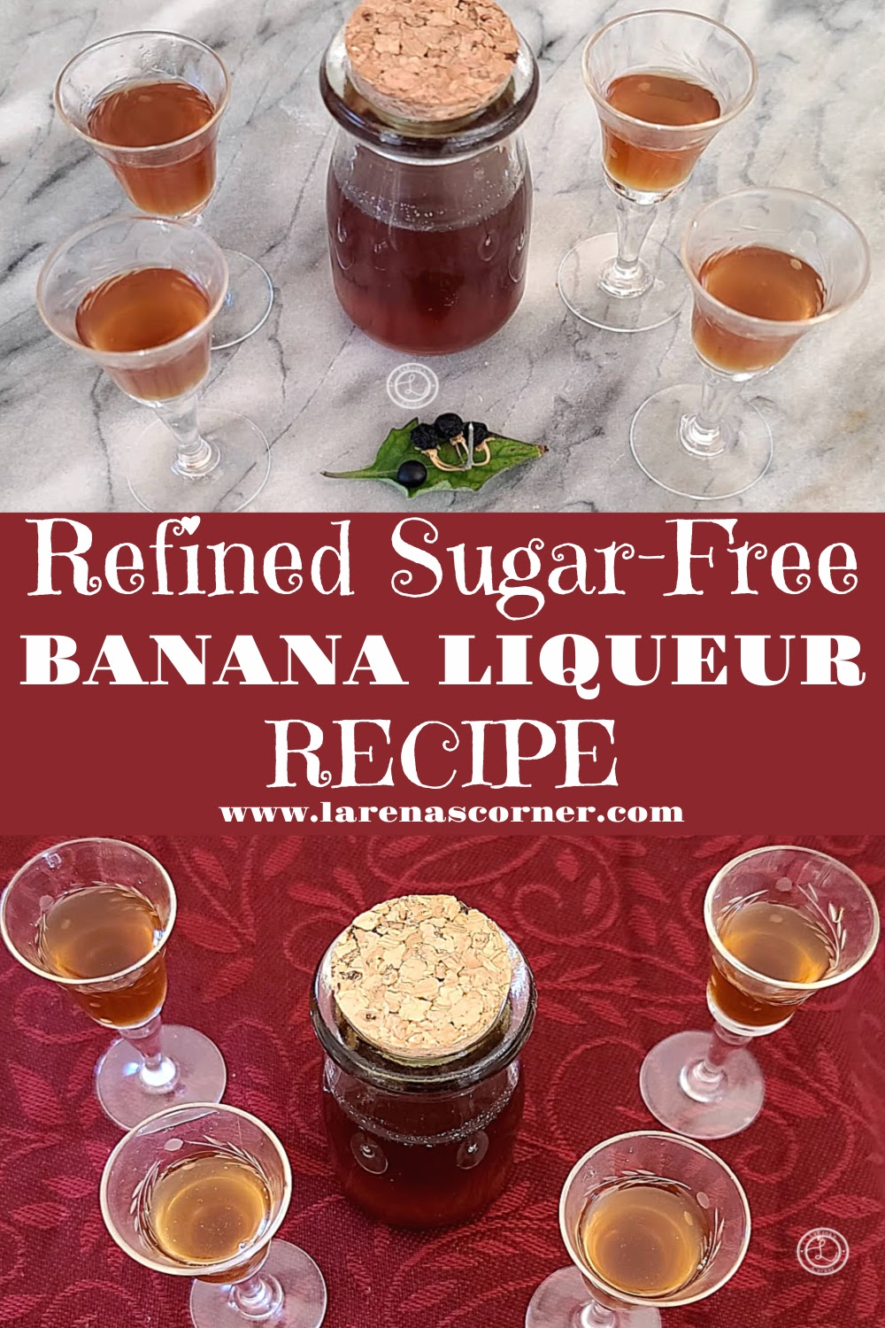 Refined Sugar-Free Banana Liqueur 2 pictures of 4 small glasses of alcohol and a small bottle.