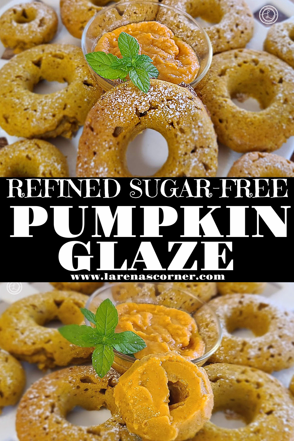 Pumpkin Glaze. One picture of pumpkin donuts on a plate with glaze. One photo of 4 glazed donuts up close.