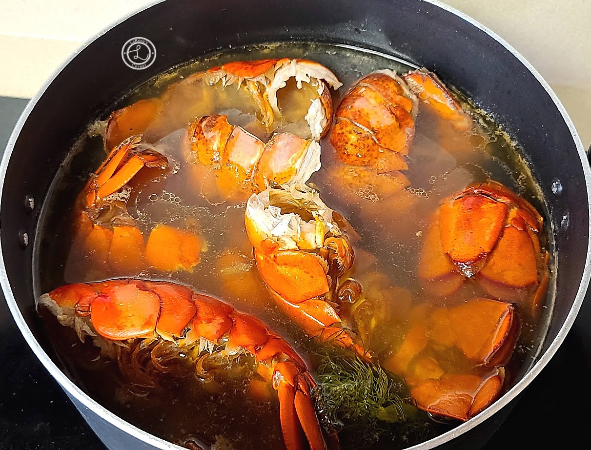 Shellfish shells in a pot