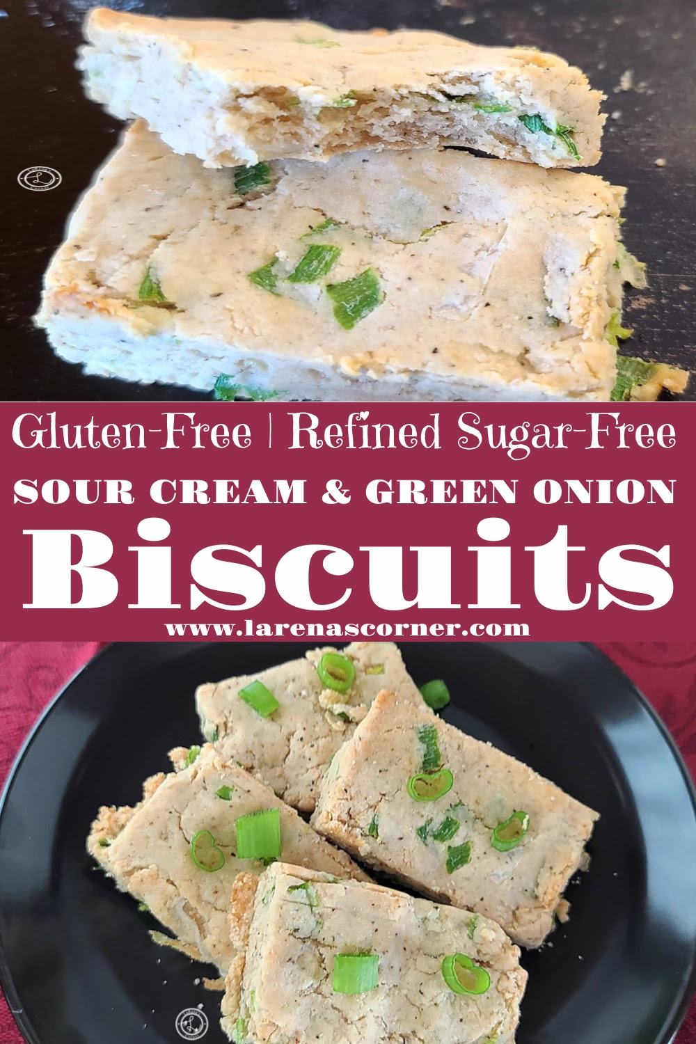 Gluten-Free Sour Cream & Green Onion Biscuits. 2 pictures. One of 4 biscuits on a plate. Second picture is a close up of two biscuits with a bite take out of one.