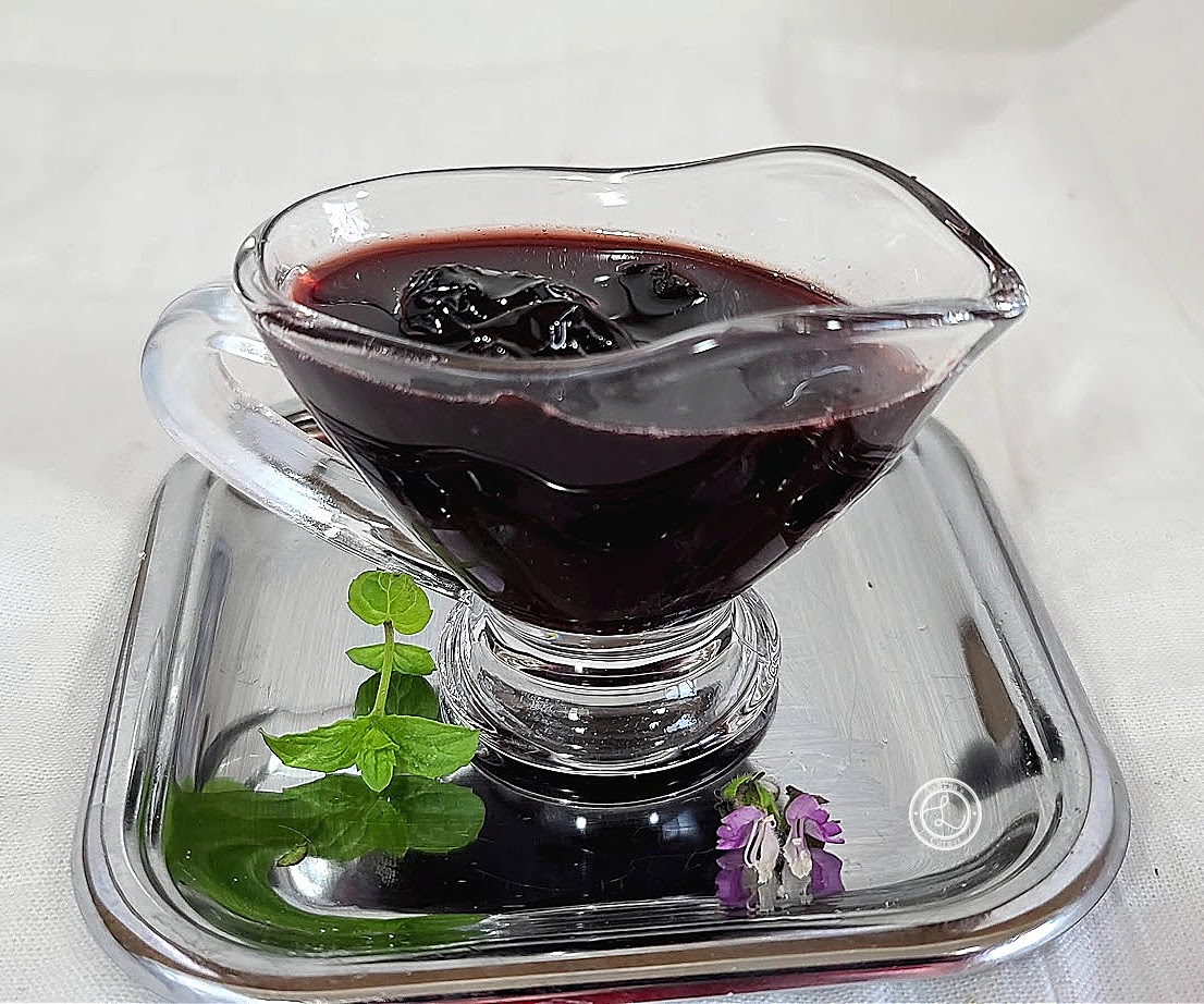 Refined Sugar-Free Cherry Sauce in a glass serving dish.