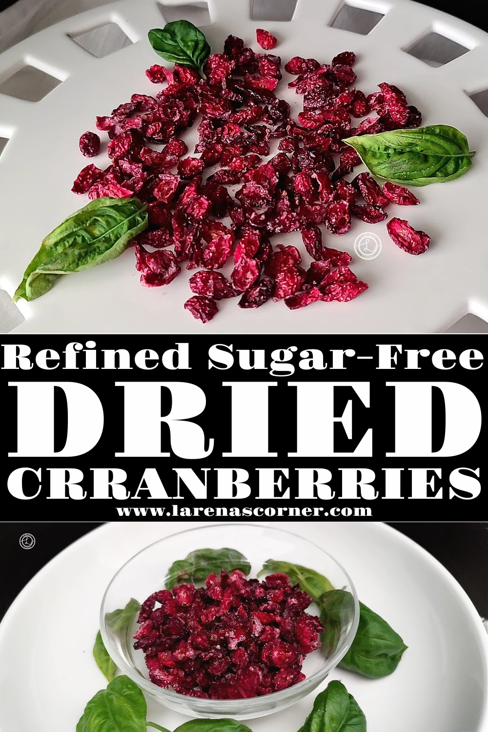Two pictures of dried cranberries. One on a plate, the second in a bowl.