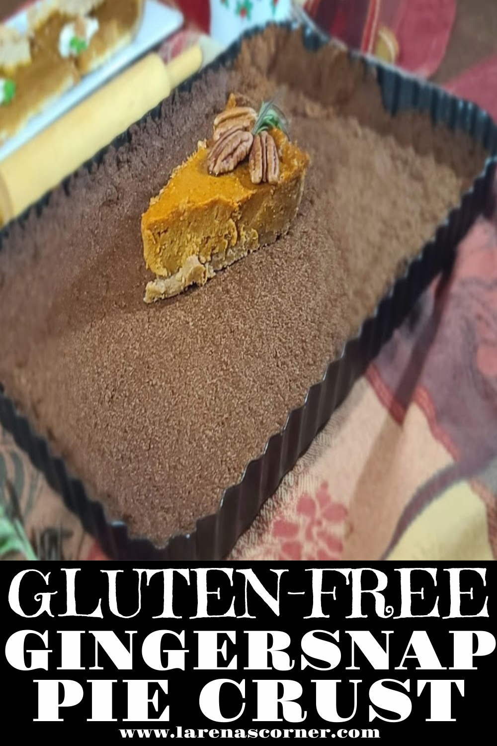 Gluten-Free Gingersnap Pie Crust with a piece of Sweet Potato on top of a crust