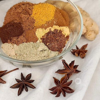 All the spices inside a bowl