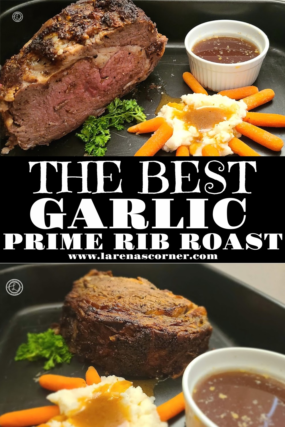 A slab of Prime Rib showing the outside and the inside. Medium Rare roast