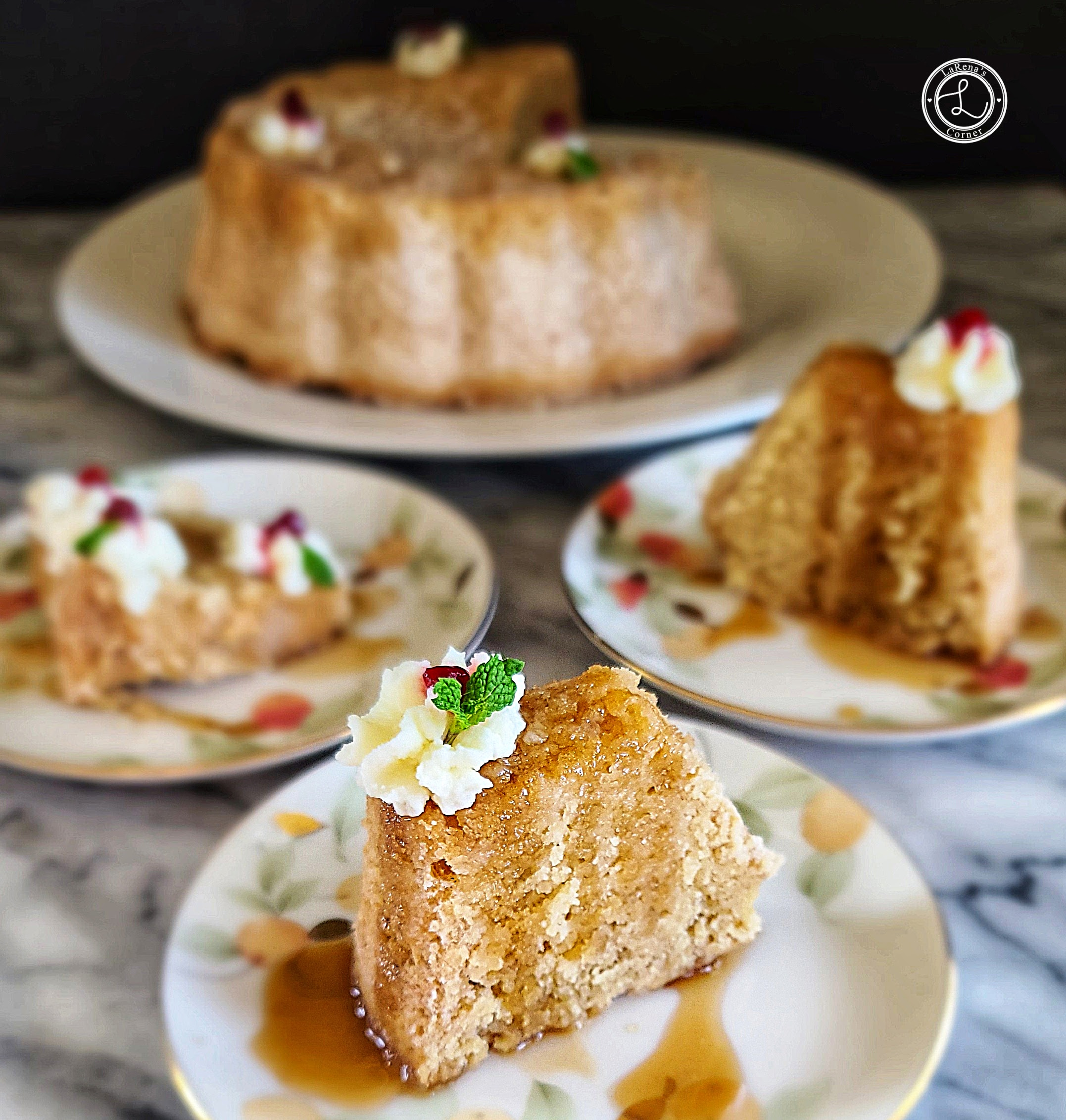 Cake a 3 slices of Gluten-Free Homemade Rum Cake