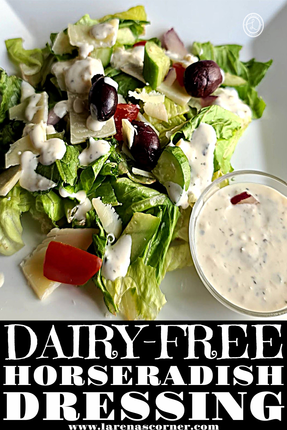 Dairy-Free Ranch Horseradish Dressing on a salad with some on the side